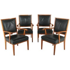 Set of Four Fruitwood French 'Moderne' Chairs