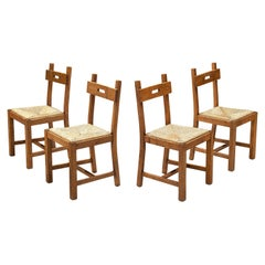 Set of Four Functionalist Chairs in Oak and Cane