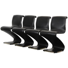 Set of Four Gastone Rinaldi Black Faux Leather and Brass Z Chairs, 1970s