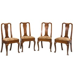 Set of Four George I Period Elm Chairs
