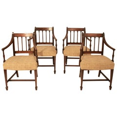 Set of Four George III Dining Chairs, Antique, circa 1790, Mahogany and Textile