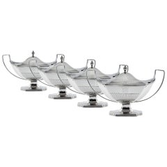 Set of Four George III Sauce Tureens and Covers