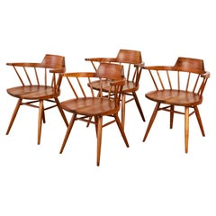 Set of Four George Nakashima Black Walnut Captain's Chairs