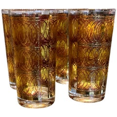 Set of Four Georges Briard Gilt Gold & Smoked Overlay to Clear Cocktail Glasses