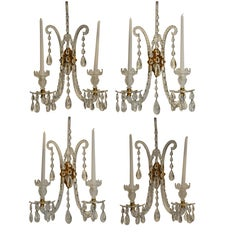 Set of Four Georgian Style Crystal and Gilt Brass Sconces