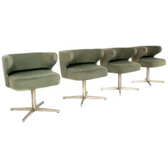 Set of Four Gianni Moscatelli Swivel 'Poney' Chairs for Formanova, Italy, 1970's