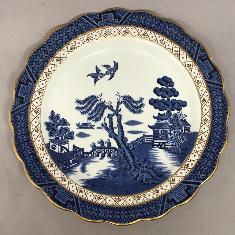 English Set of Four Gilded Blue and White Chinoiserie Dessert Plates For Sale