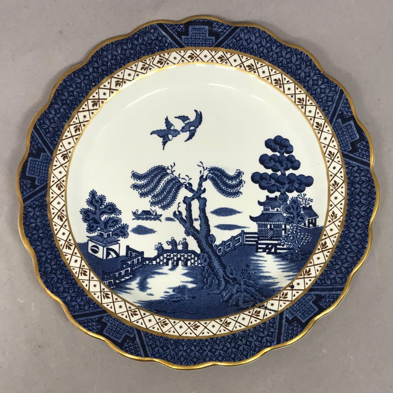 Set of Four Gilded Blue and White Chinoiserie Dessert Plates In Good Condition For Sale In New York, NY