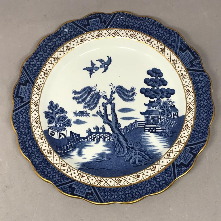 20th Century Set of Four Gilded Blue and White Chinoiserie Dessert Plates For Sale