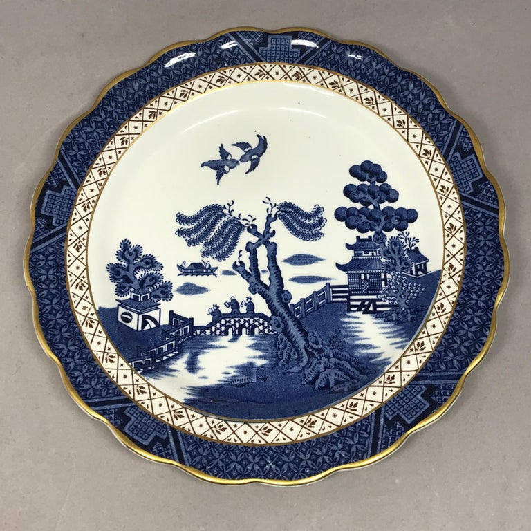 Set of Four Gilded Blue and White Chinoiserie Dessert Plates For Sale 1