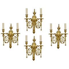 Set of Four Gilded Bronze Wall Lights