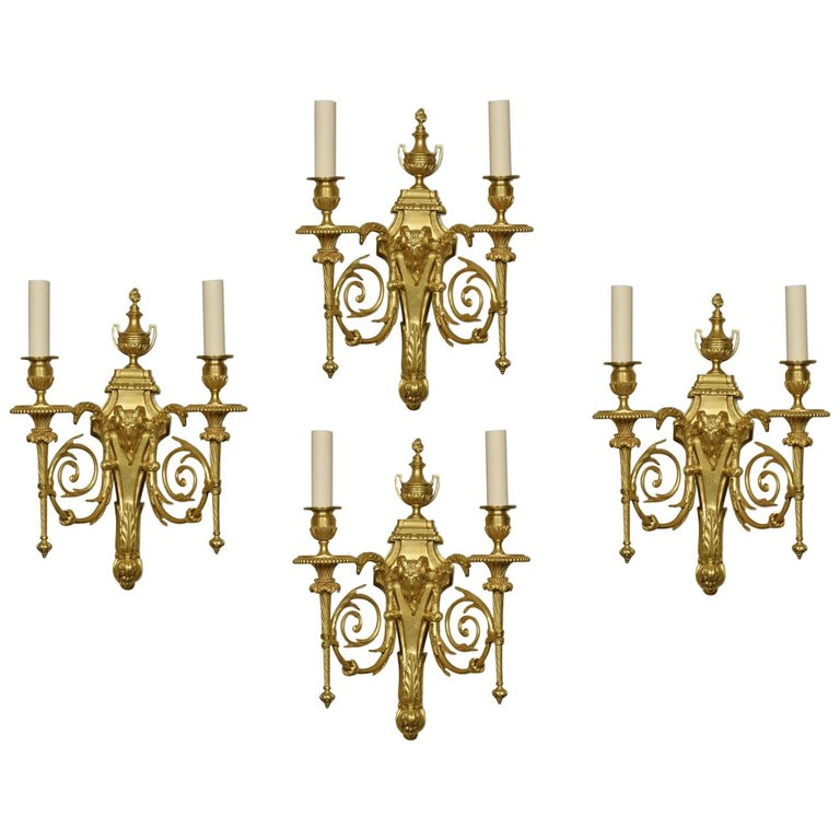Set of Four Gilded Bronze Wall Lights For Sale