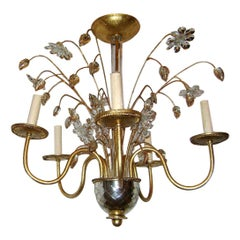 Set of Four Gilt Metal and Molded Glass Chandeliers, Sold Individually