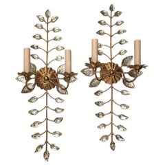 Set of Four Gilt Metal Sconces with Molded Glass Leaves