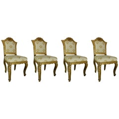 Set of Four Giltwood Italian Chairs