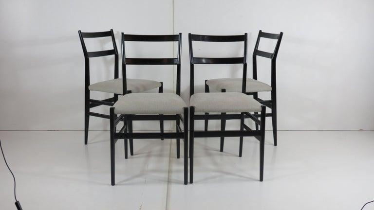 Mid-Century Modern Set of Four Gio Ponti Black Laquered