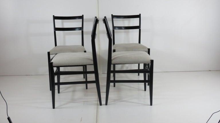 European Set of Four Gio Ponti Black Laquered