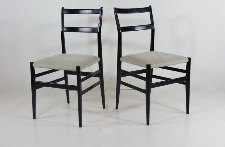Set of Four Gio Ponti Black Laquered