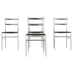 "Set of Four Chrome Dining Chairs, style of Gio Ponti's ""Superleggera"", c 1960"