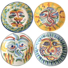 Set of Four Glazed Pottery Plates in the Style of Picasso