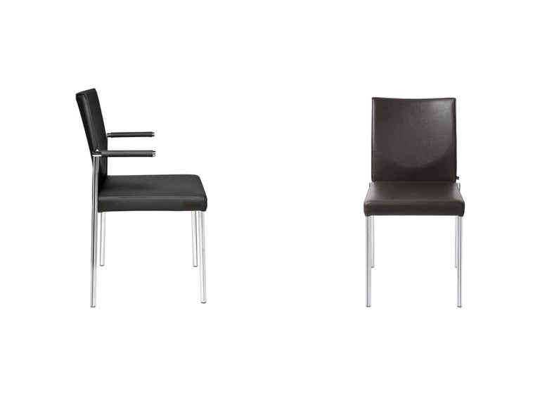 Modern Set of Four KFF Glooh Black Leather Stackable Chairs For Sale