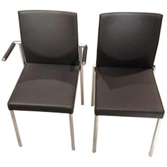 Set of Four Glooh Black Leather Stackable Chairs