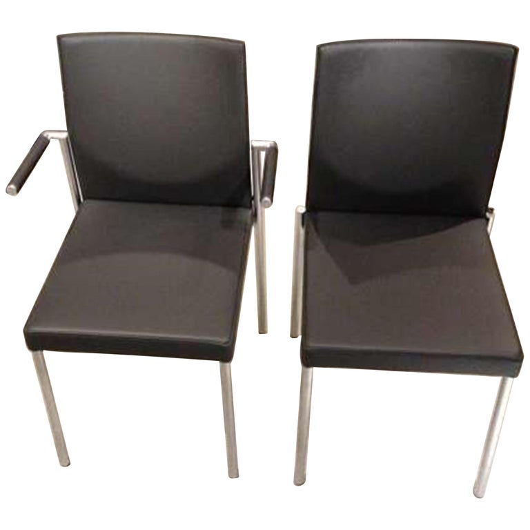 Set of Four KFF Glooh Black Leather Stackable Chairs For Sale