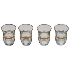 Set of Four Gold Banded Shot Glasses, circa 1960