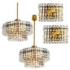 Set of Four Gold-Plated Kinkeldey Crystal Glass Light Fixtures, 1960s