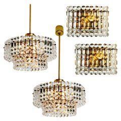 Set of Four Gold-Plated Kinkeldey Crystal Glass Light Fixtures, 1960s