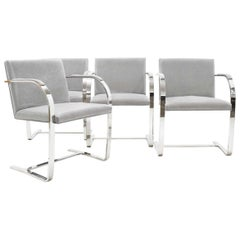 Set of Four Gray Suede Mies van der Rohe Brno Chairs