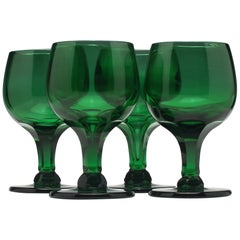 Set of Four Green Glass Wine Goblets, circa 1900