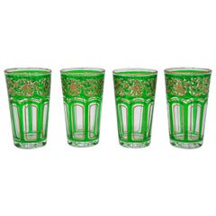 Set of Four Green Glasses with Gold Raised Moorish Design
