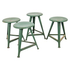 Set of Four Green Patinated Rowac Stools by Robert Wagner, Germany, 1930