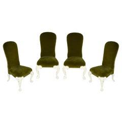 Set of Four Green Velvet Oscar de la Renta for Century Side Chairs