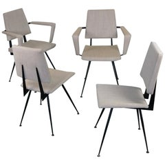 Set of Four Grey Italian Midcentury Black Metal Dining Chairs by Velca Legnano