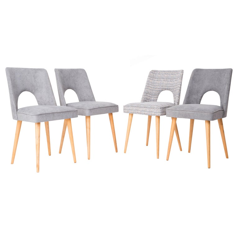 "Set of Four Grey ""Shell"" Chairs, 1960s"
