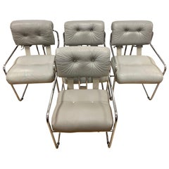 Set of Four Guido Faleschini Tucroma Gray Leather and Chrome Chairs Mariani Pace