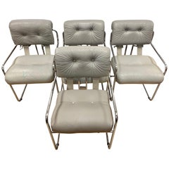 Set of Four Guido Faleschini Tucroma Gray Leather & Chrome Chairs Mariani Pace