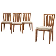 Set of Four Guillerme et Chambron Dining Chairs in Oak