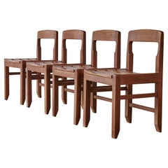 Set of Four Guillerme et Chambron Oak Dining Chairs, France, 1960s