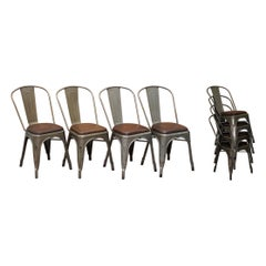 Set of Four Gun Metal Grey Stacking Chairs Tolix V2 with Upholstered Seat Pad