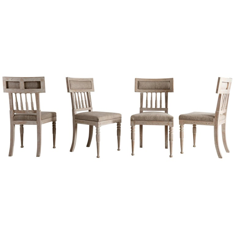 Set of Four Gustavian Dining Chairs For Sale