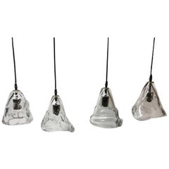 Set of Four Hand Blown Pendant Lights