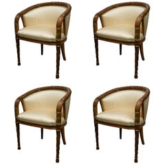 Set of Four Hand Carved Occasional Barrel Back Chairs