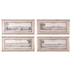 Set of Four Hand Colored Engravings of French Cities