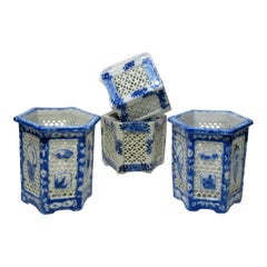 Set of Four Hand Painted Blue White Reticulated Hexagonal Porcelain Vases