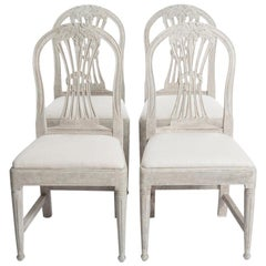 Set of Four Hand Painted Gustavian Dining Chairs in Light Green-Gray Color
