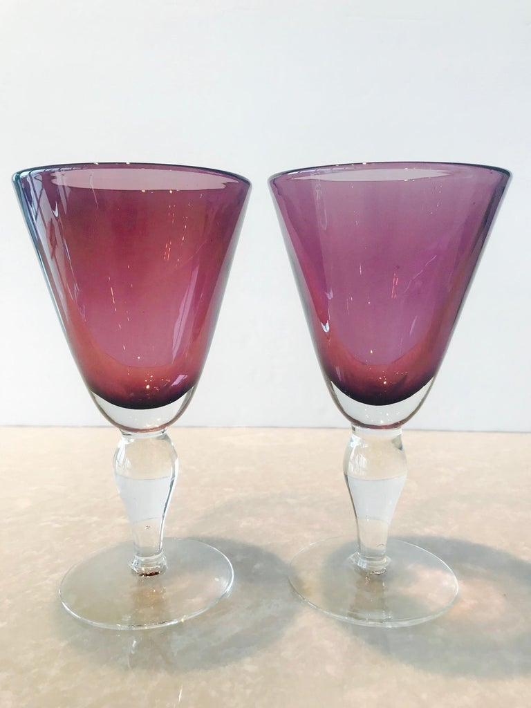 Hand-Crafted Set of Four Handblown Amethyst Murano Stemware Glasses For Sale