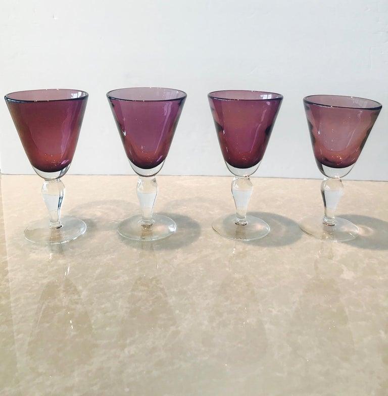 Set of Four Handblown Amethyst Murano Stemware Glasses For Sale 1